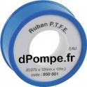 Ruban de Téflon PTFE Longueur 12 m x 12 mm x 0,075 mm