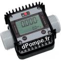 Compteur Suzzarablue K24 Affichage Electronique de 6 a 100 l/mn 10 bars avec Raccord