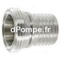 Raccord DIN 11 851 Inox 316L Mâle DN 25 Douille Crantée à Collerette DN 25 - dPompe.fr