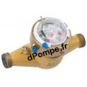 """Compteur Jet Multiple Téflonné DHM1400-15165 3/4"""" (20 x 27) 2,5 m3/h 90°C max à 1 impulsion x 500 L - dPompe.fr"""