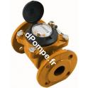 Compteur Woltmann Téflonné DHWMWN-T-50200 DN 50 - 25 m3/h 130°C max à 1 impulsion x 5 L - dPompe.fr