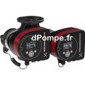 Circulateur Électronique Double Grundfos MAGNA3 D 32-60 F à Brides de 6 à 13 m3/h entre 6 et 2,2 m HMT Mono 230 V 101 W - dPompe
