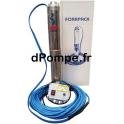 Pompe Immergée Pedrollo FORAPACK T212-F/40 - FK Pré-Câblée 40 m de 0,6 à 3,6 m3/h entre 90 et 36 m HMT Tri 400 V 0,75 kW - dPomp