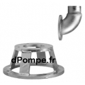 """Support avec Coude Acier Galvanisé Grundfos DN150/DN100 x Cannelé 4"""" pour Pompe SL1/SE1 100 100 - dPompe.fr"""