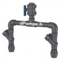 """Kit de Refoulement PVC Grundfos 1""""1/2 pour 2 Pompes avec Pièce en T et Clapet Anti-Retour - dPompe.fr"""