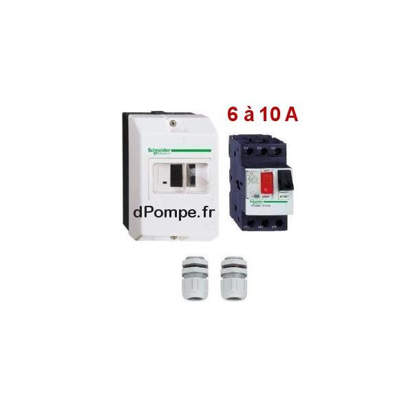 disjoncteur magneto thermique gv2 me14 de 6 10 a avec boitier et 2 presses etoupe. Black Bedroom Furniture Sets. Home Design Ideas