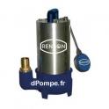 Pompe de Relevage Dilacératrice Renson de 3,6 à 25,2 m3/h entre 17,4 et 5,9 m HMT Tri 380 V 1,1 kW avec Flotteur