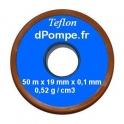 Ruban de Téflon 19 mm de Largeur 0,1 mm d'épaisseur 50 m de long