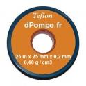 Ruban de Téflon 25 mm de Largeur 0,2 mm d'épaisseur 25 m de long