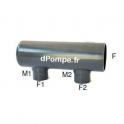 Collecteur Fin de Ligne PVC Pression Femelle à Coller Ø 63 avec 2 Sorties MF à Coller Ø 40 x 32