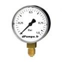 "Manomètre 0 à 1 bar en Acier Peint D50 mm M 1/4"" (8 x 13)"