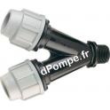 """Y à Compression pour Tube PE Plasson Fileté Mâle Ø 20 x 20 mm x 3/4"""" (20 x 27)"""