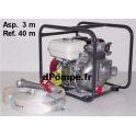 Motopompe Incendie TSURUMI Essence HP TEF3 50 H VB 14 m3/h a 51 m HMT + Aspireau 3 m + Refoulement 40 m + Lance Hudget