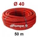 Gaine Électrique Rouge TPC Ø 40 mm Couronne de 50 mètres