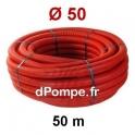 Gaine Électrique Rouge TPC Ø 50 mm Couronne de 50 mètres