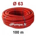 Gaine Électrique Rouge TPC Ø 63 mm Couronne de 100 mètres