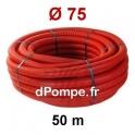 Gaine Électrique Rouge TPC Ø 75 mm Couronne de 50 mètres