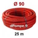 Gaine Électrique Rouge TPC Ø 90 mm Couronne de 25 mètres