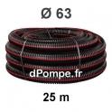 Gaine Noire Bande Rouge Électricité TPC Ø 63 mm Couronne de 25 mètres