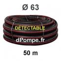 Gaine Noire Bande Rouge Électricité Détectable TPC Ø 63 mm Couronne de 50 mètres