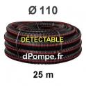 Gaine Noire Bande Rouge Électricité Détectable TPC Ø 110 mm Couronne de 25 mètres