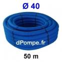 Gaine Bleue pour Tuyau ou Tube d'Eau Ø 40 mm Couronne de 50 mètres