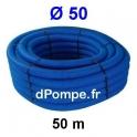 Gaine Bleue pour Tuyau ou Tube d'Eau Ø 50 mm Couronne de 50 mètres