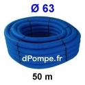Gaine Bleue pour Tuyau ou Tube d'Eau Ø 63 mm Couronne de 50 mètres