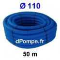 Gaine Bleue pour Tuyau ou Tube d'Eau Ø 110 mm Couronne de 50 mètres