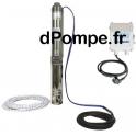 Pompe Immergée Calpeda 4SDFM 22-10 E30 ECO de 0,3 à 3 m3/h entre 64,4 et 25,8 m HMT Mono 230 V 0,55 kW avec Coffret et 30 m de C