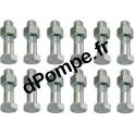 Kit Visserie Inox 12 vis 20 x 80 avec 12 écrous pour DN 200 - dPompe.fr